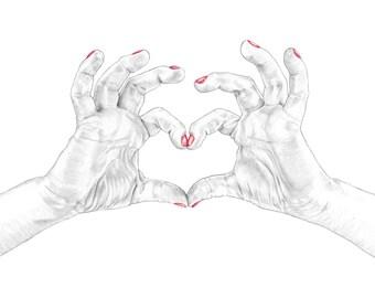 Set of 10 'Love' Valentine's day cards