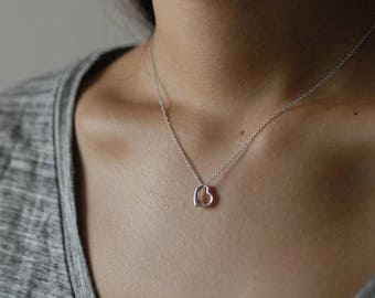 Tiny heart silver necklace - Sterling Silver