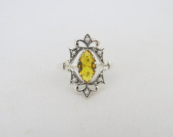 Vintage Sterling Silver Citrine & Seed Pearl Ring Size 8