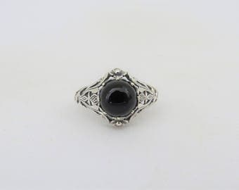 Vintage Sterling Silver Black Onyx Flower Filigree Ring Size 6