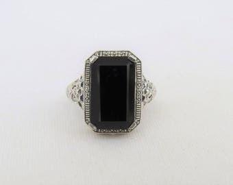 Vintage Sterling Silver Natural Black Onyx Filigree Ring Size 7