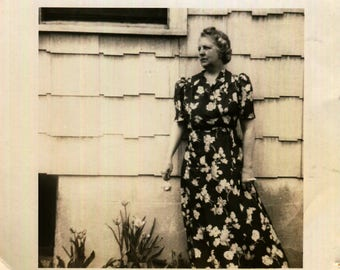 Vintage Photo of Woman in Flowered Dress Standing by Side of House, 1940's Original Found Photo, Vernacular Photography