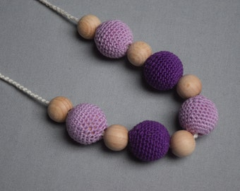 Purple Breastfeeding Necklace - Crochet Nursing Necklace  - Teething necklace with crochet beads - baby shower gift - pink purple