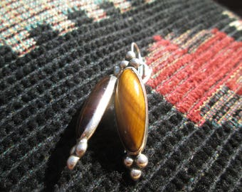 Cats Eye and Sterling Silver Dangle Earrings