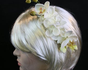 Ivory Orchid Hair Comb Ivory Hydrangea Hair Comb Ivory Flower Hair Comb Ivory wedding hair comb Bridal hair comb wedding orchid flower comb