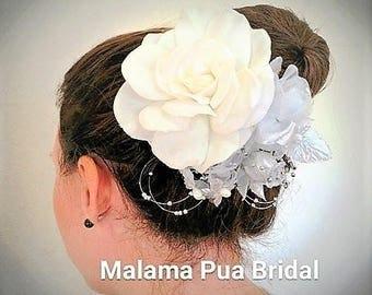WEDDING HAIR CLIP, hair Accessory, White Gardenia, Beach Wedding, Hair Flower, Hawaiian, bridal hair clip, Headpiece, Tropical Hair piece