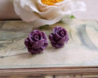Flower Cabochon earrings Lucite flower Purple rose stud earrings Titanium Post made in USA
