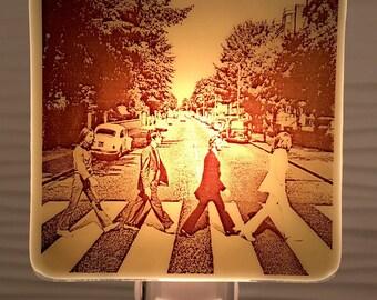 Beatles Abbey Road Night Light Fused Glass