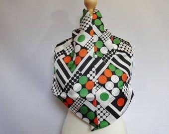 "Vintage Mod scarf geometric green orange black white 21cm x 110cm / 8.2"" x 43.3"""