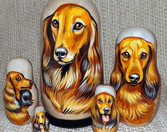 Longhaired Dachshund on Five Russian Nesting Dolls. Dogs. #2