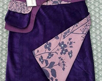 Sale-Rich Velvet Free Size Wrap  Reversible Corduroy Knee Length Skirt Purple and Violet  Print