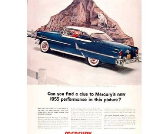 Vintage newspaper ad for a 1955 Mercury - 27