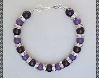 purple bracelet, dark purple bracelet, crystal bracelet, rhinestone