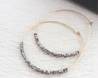 Vintage Steel and Gold Filled Hoop Earrings