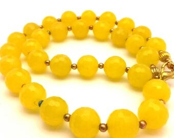 """Necklace Vintage Lemon Yellow Round Facet Form Chalcedony Gemstone Beaded Long 19.0"""""""