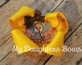 Golden Yellow Turkey feltie Hairbow - Thanksgiving Boutique Hair Bow