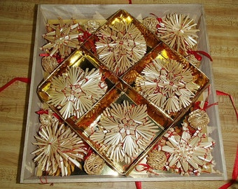 Scandinavian Straw Ornaments Box of 56 #H1-544