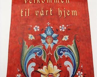 """Garden Flag 12"""" x 17"""" - Norwegian Rosemaling Welcome to our Home Velkommen"""