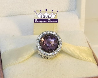 925 Sterling Silver Charm European bead Radiant Royal Purple, Clear CZ fit Pandora bracelet and European Bracelets