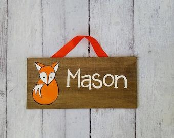 Fox Woodlands Nursery Name Sign/ Wood Nursery Sign/ Kid's Room Decor