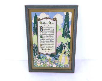 Mother Dear Poem Framed, 1920s Print, Made in USA,  Mother's Day, Gift for Her
