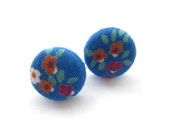 """16mm Blue fabric covered button stud earrings, post earrings, red flower fabric earrings, ear studs jewelry, 5/8"""""""