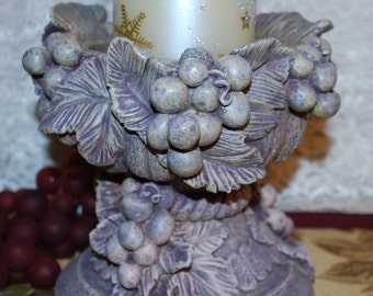 "Ornate 6-3/8"" Victorian Grape Pattern Ceramic Pedestal Pillar/Jar Candle Holder"