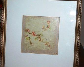 "Cheri Blum Signed Cherry Print Matted 9-7/8"" X 9-7/8"" Frame Art"