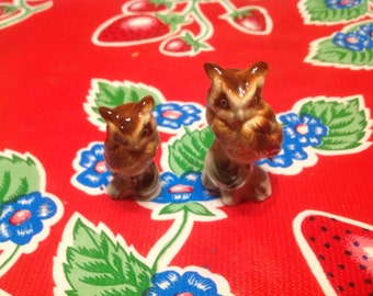 Vintage bone china hand painted owl  figurines