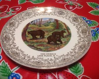 Vintage ceramic souvenir plate- 1000 Animals, Lake Placid, NY