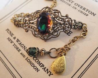 Green Topaz ~ Filigree Bracelet ~ Antique Glass ~ Rare Green Volcano Rhinestone ~ by LadyofTheLakeJewels