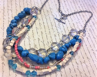 Blue and Pink Layered Necklace