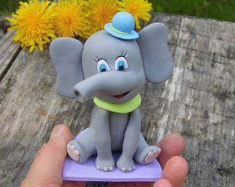 Elephant 1st birthday cake topper, Custom cake topper, 1st cake topper, Birthday cake topper, Elephant baby shower, Elephant cake figurine
