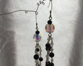 Crystal  & glass dangle earrimgs