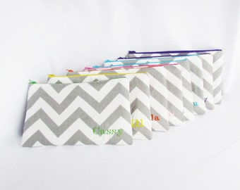 Set of 7 - Personalized Chevron Pouch - Monogrammed Makeup bag - Bridesmaid clutches - Large