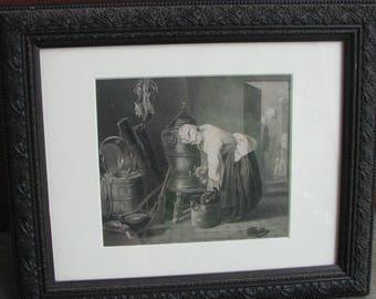 Vintage Lithograph Print - Medievil scene - Framed