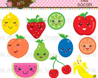 40% Off! Kawaii Fruit Digital Clipart Instant download