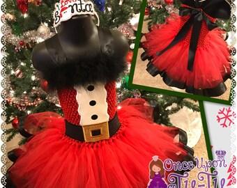 Santa ribbon trim tutu. Ribbon dress. Santa dress. Christmas tutu. Christmas dress.I love you Santa tutu set/ headband slider