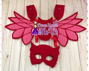 Owl wings. Owl cuffs. Owl mask. Red Owl super hero. Red owl costum set.