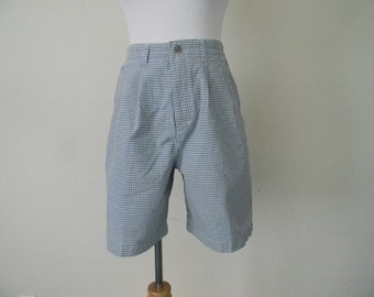 FREE usa SHIPPING 1990s  vintage plaid women's classic rise lee pleated blue shorts lee  hipster nerd geek cotton size 6