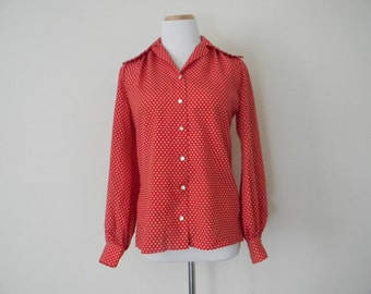 FREE usa SHIPPING Vintage 1970s handmade polka dot/ red blouse/ button up blouse polyester size M-L