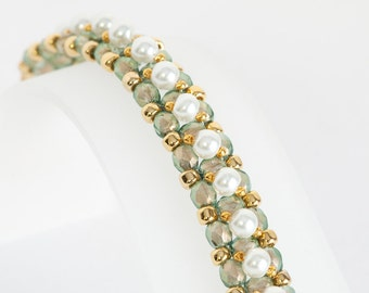 Pearl Bracelet - Beadwoven Seed Bead Bracelet in Halo Heavens FP Beads, White Glass Pearls, Gold Plated Seed Beads - Pastel Jewelry - Spring
