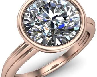 Fenestra Round Moissanite Full Bezel Comfort Fit Engagement Ring