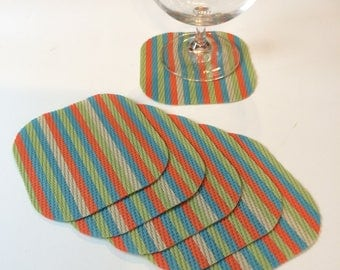 Set of Six Woven Vinyl Coasters in Multicolor Stripe