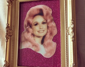 Dolly Parton pink hair glitter print in gold frame 6x4""