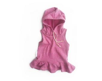 Purple Ruffled Hoodie // Baby Girl Toddler Tank  // Beach Hoodie //