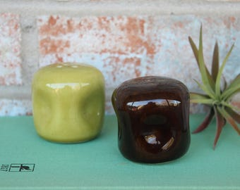 Retro Green and Brown Salt and Pepper Shakers