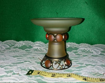Vintage candlestick holder, dollhouse, fairy garden, birdbath, glass, beads, metal terrarium, diorama