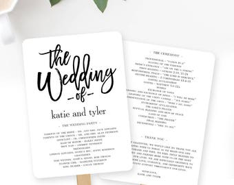 Wedding Program Fan or Flat Wedding Program Templates - Printable Instant Download - Brushed