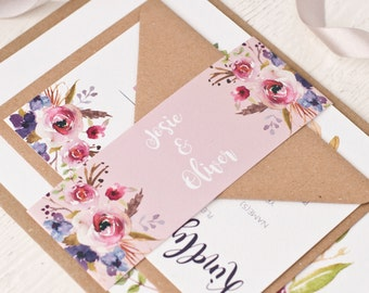 Viloet - Bohemian Watercolour Floral Wedding Stationery Sample